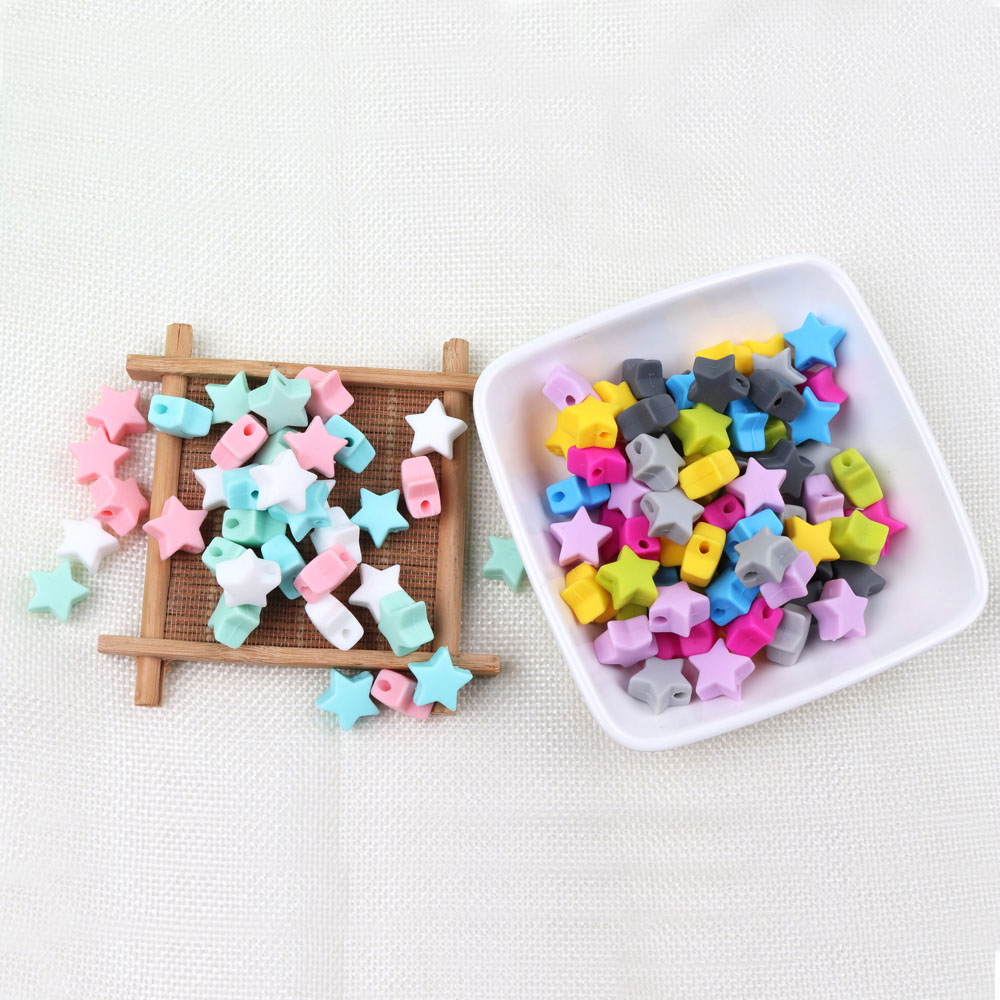 500Pcs Silikono Granulių Chewable Teether Granules, kaip 14mm Silikono Star